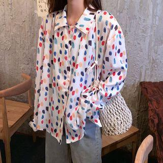 Dotted Loose-fit Blouse Ivory - One Size