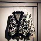 V-neck Argyle Knitted Cardigan