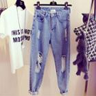 Distressed Washed Boyfriend Jeans