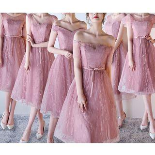 Sheer Panel A-line Bridesmaid Dress