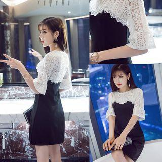 Lace Panel Elbow Sleeve A-line Dress