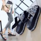Lettering Platform Ankle Strap Sandals