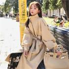 Funnel-neck Long Trench Coat With Sash