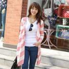 Open-front Stripe Long Cardigan