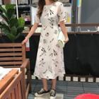 Patterned Chiffon Long Flare Dress