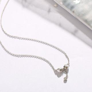 925 Sterling Silver Rhinestone Kissing Fish Y Necklace Necklace - Kissing Fish - Silver - One Size
