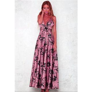Sleeveless Printed Maxi Dress As Shown In Figure - One Size