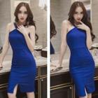 Slit-front Sheath Dress
