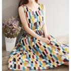 Sleeveless Patterned Maxi A-line Dress