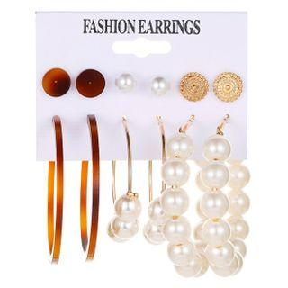 Set Of 6: Earring 01 - 12389 - 1 Pair - Gold - One Size