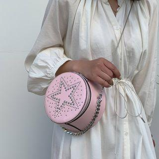 Round Studded Chain Crossbody Bag