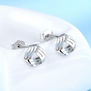 925 Sterling Silver Triangle Earring 1 Pair - 925 Silver - White - One Size