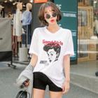 Cutout-back Printed T-shirt