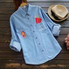 Long-sleeve Embroidery Denim Shirt