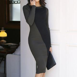 Long-sleeve Sheath Knit Dress Gray + Black - One Size