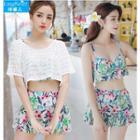Couple Matching Printed Swimshorts / Set: Printed Bikini Top + Swim Skirt + Cover-up
