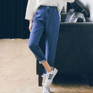 Striped Tapered Jeans