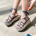Patterened Strappy Gladiator Platform Sandals