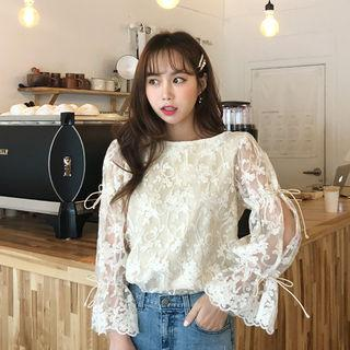 Tie-up Slit-sleeve Lace Peasant Blouse Cream - One Size
