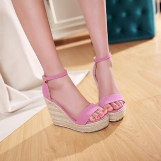 Faux-suede Wedge Sandals
