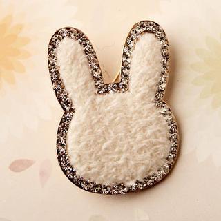 Rhinestone Rabbit Brooch