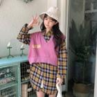 Plaid Long-sleeve Shirt Dress / Lettering Vest
