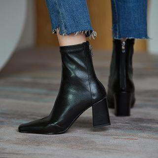 Plain Faux Leather Chunky Heel Short Boots