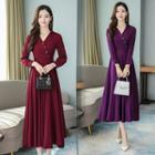 Collared V-neck Long-sleeve A-line Midi Dress