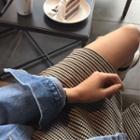 Slit-hem Checked Mini Skirt