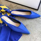 Pointy-toe Fabric Flat Mules