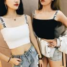 Sleeveless Lettering Strap Knit Top
