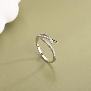 Rhinestone Irregular Open Ring Rs493 - Silver - One Size