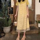 Short-sleeve T-shirt Dress / Floral Print Spaghetti-strap Midi Dress