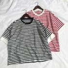 Striped Elbow-sleeve T-shirt Red & White - Xl