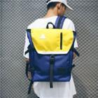 Color Block Belted Oxford Backpack