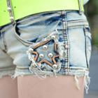 Distressed Studded Star Applique Denim Shorts