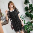 Drawstring Sheer Sleeve Chiffon Dress