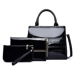 Set: Pattern Handbag + Chain Strap Crossbody Bag + Pouch
