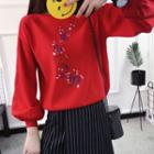Flower Embroidered Knit Pullover