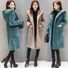 Plain Furry Hooded Long Coat