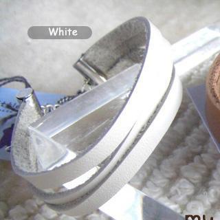 Modern White Leather Bracelet