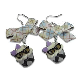Ribbon Miss Preppy Cupcake Crystal Earrings