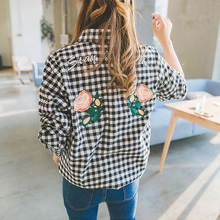 Floral Embroidered Gingham Shirt
