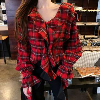 Plaid Blouse Plaid - Red - One Size