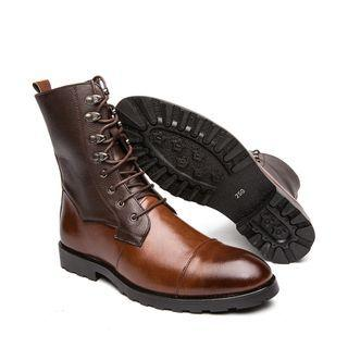 Faux-leather Lace-up Panel Short Boots
