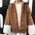 Color Panel Fleece Zip Jacket
