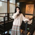 Sweater / Long-sleeve Plaid Midi Dress