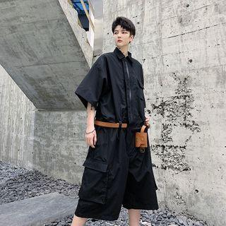 Set: Elbow-sleeve Wide-leg Cargo Playsuit + Belt Bag