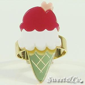 Mini Fuchsia Ice-cream Gold Ring