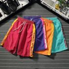 Lettering Contrast Trim Drawstring Shorts